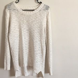 White crocheted back sweater